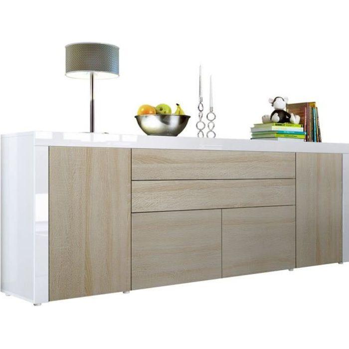Buffet Chêne Brut MDF / Blanc haute brillance 200 cm