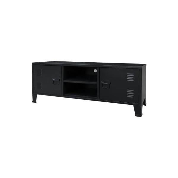 Meuble TV Métal Style industriel 120 x 35 x 48 cm Noir