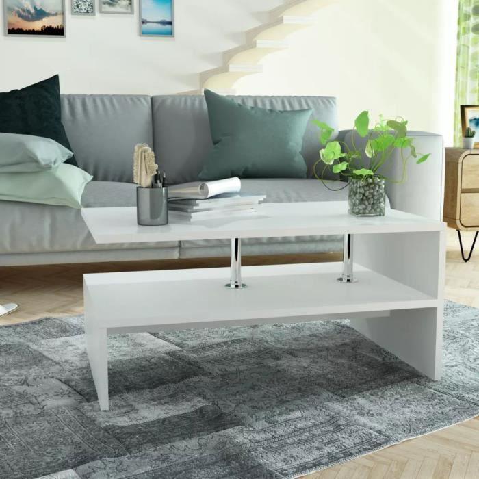 Table basse design scandinave salon contemporain en aggloméré 90 x 59 x 42 cm Blanc