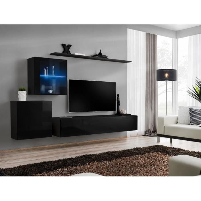 Ensemble meuble salon mural SWITCH XV design, coloris noir brillant. 40 Noir
