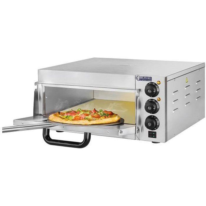 Four à pizza électrique 1 chambre de cuisson Minuterie jusqu'à 120 min Inox 2000W 40x40x15cm Royal Catering RCPO-2000-1PE