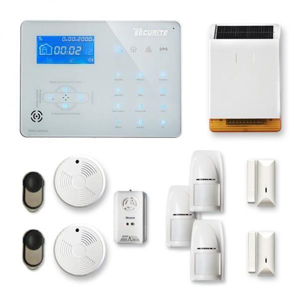 Alarme maison sans fil ICE-B 2 à 3 pièces mouvement + intrusion + détecteur de fumée + gaz + sirène extérieure solaire - Compatible