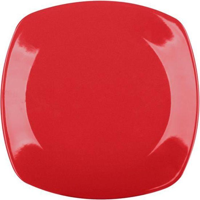 Lot de 6 Assiettes Carrées Rouge Plat de Service à Dessert 20 cm