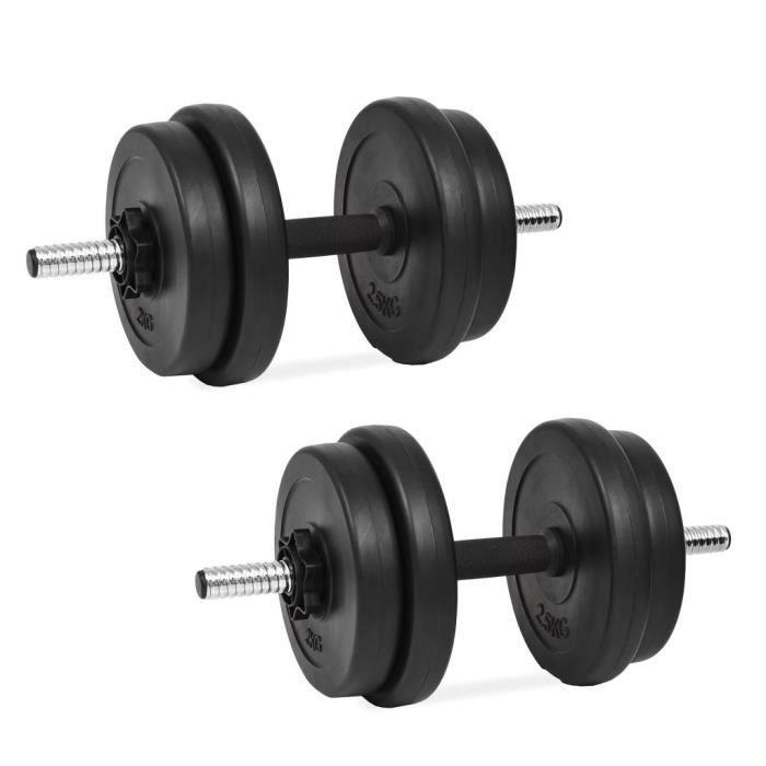 Ensemble d'haltères 14 pcs 20 kg - Noir - Entraînement et fitness - Haltérophilie - Poids libres - Noir - Noir