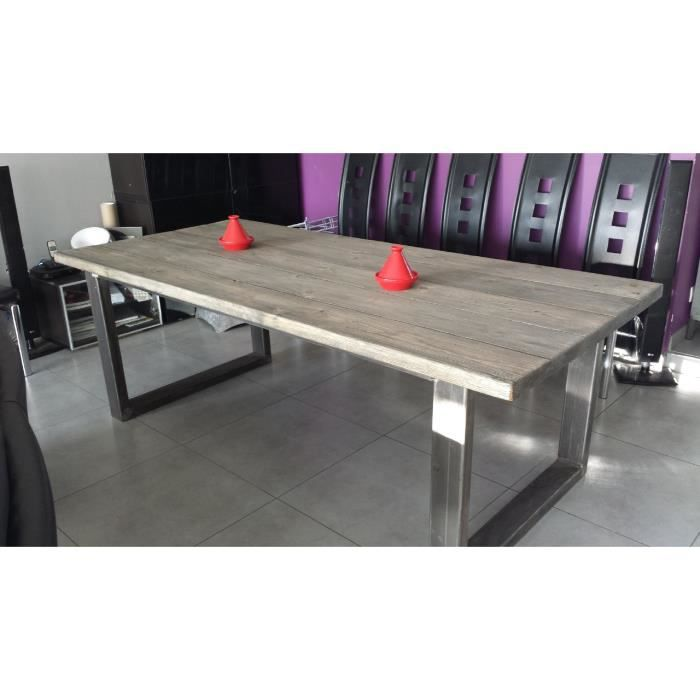 table de salle manger industriel acier et bois achat vente table manger seule table de. Black Bedroom Furniture Sets. Home Design Ideas