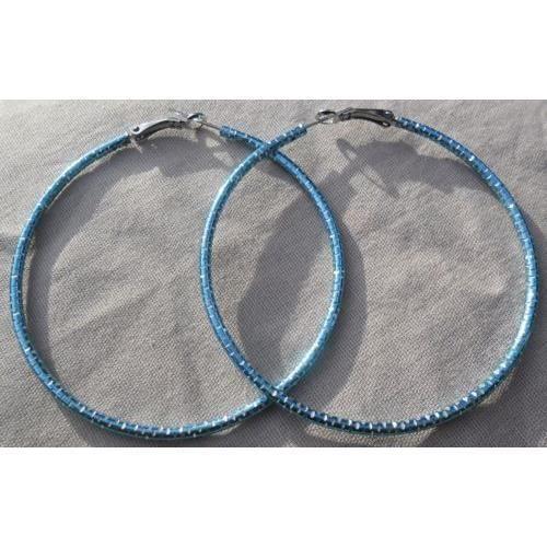 boucles d/'oreille créoles bleu finement ciselé diametre 6,5 cm Bijou fantaisie
