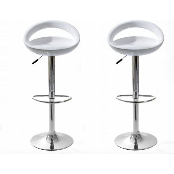 tabourets de bar snack blanc lot de 2 achat vente tabouret de bar abs cdiscount. Black Bedroom Furniture Sets. Home Design Ideas