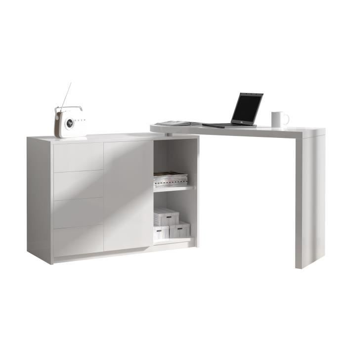 bureau modulable avec rangement coloris blanc laqu achat vente bureau bu. Black Bedroom Furniture Sets. Home Design Ideas