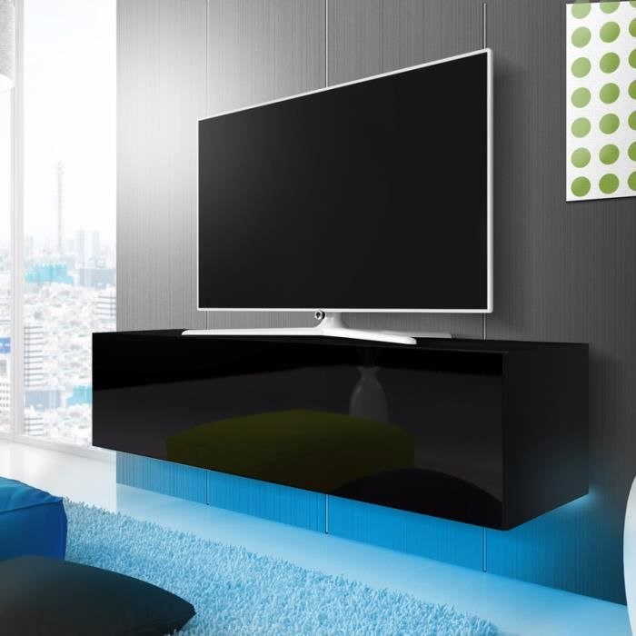 meuble tv meuble salon lana 160 cm noir mat noir. Black Bedroom Furniture Sets. Home Design Ideas