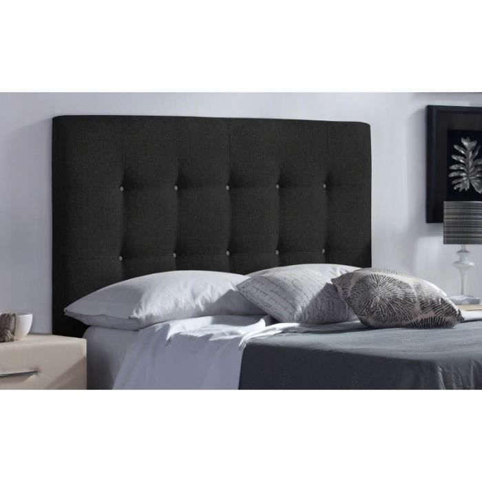 t te de lit fabric couleur tissu noir mesure lit de 180 cm de large achat vente t te. Black Bedroom Furniture Sets. Home Design Ideas