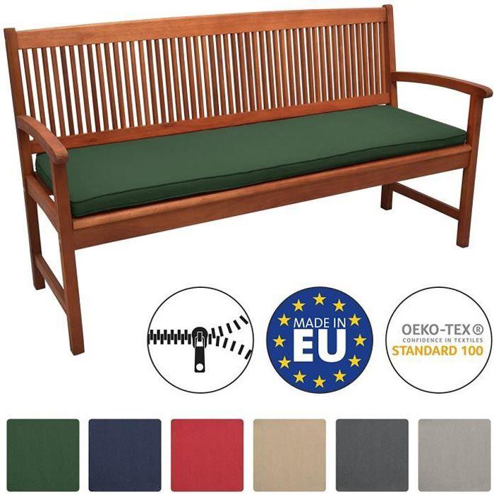 fabriqu/é en Allemagne lavable /à 95 /°C 140 x 40 cm, beige HAVE A SEAT Luxury Coussin de banc confortable pour banc facile dentretien