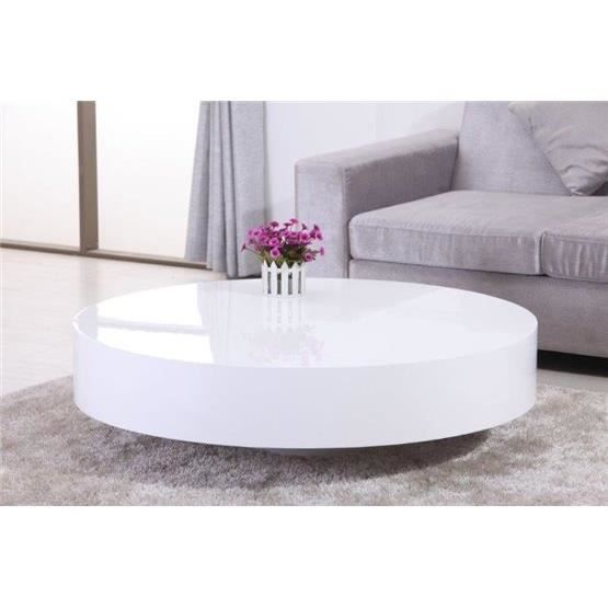 table basse ronde laqu e belius blanc achat vente table basse table basse ronde laqu e be. Black Bedroom Furniture Sets. Home Design Ideas