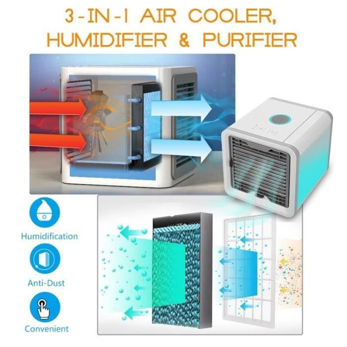 Climatiseur Ventilateur Espace personnel Refroidisseur dair par /évaporation Refroidisseur Swamp Refroidisseur Climatisation Gris Filtre de 2e g/én/ération