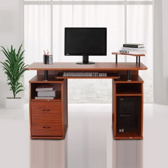 bureau meuble informatique table d ordinateur 2 grands tiroirs tablette coulissante pour clavier. Black Bedroom Furniture Sets. Home Design Ideas