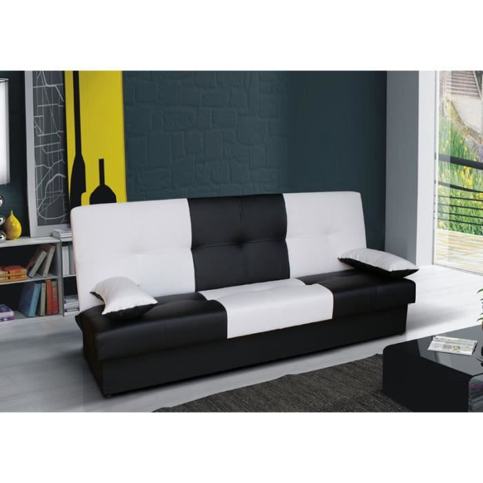 clic clac bi color junon noir et blanc achat vente. Black Bedroom Furniture Sets. Home Design Ideas
