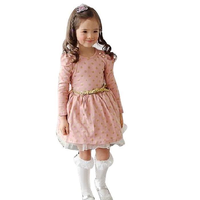 Nouveau chic enfant filles vêtements boutons Princess Dress With Belt Ages 3 - 11ans