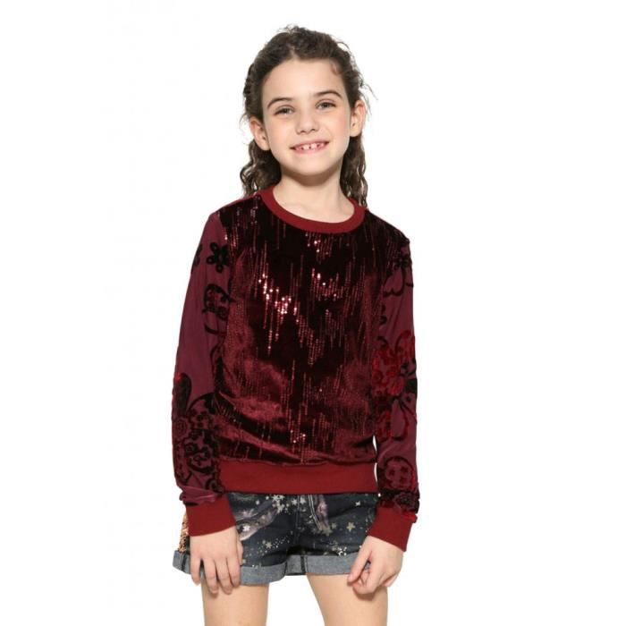 Desigual Sweat Fille Swift Burdeos Rouge 17WGSK24 Rouge Rouge ... e048fc5e372