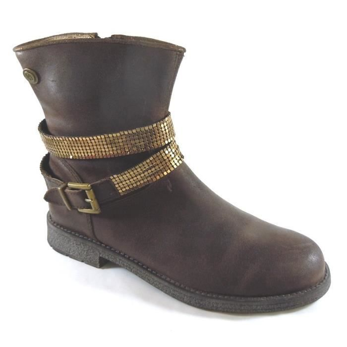 Garvalin Bottines Cuir Marron avec Boucle (38 - Médium - marron) 0RDHJb