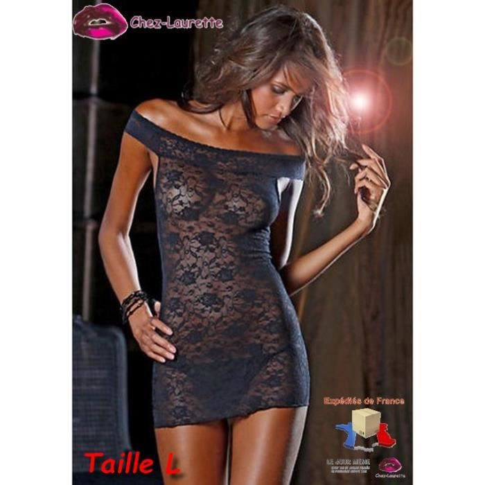 Robe Resille Transparente Ultra Sexy Taille L 42 Noir Achat Vente Robe Cdiscount