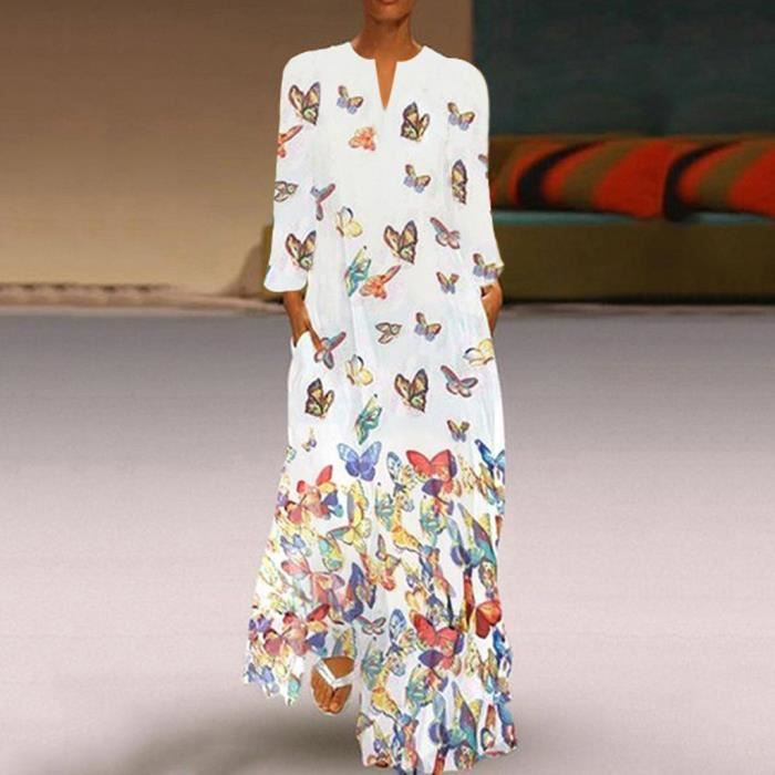 Robe Longue Femme S Vintage Bohe Point Imprime Vagues Robe A Manches Longues O Neck Maxi Dress Blanc Achat Vente Robe Cdiscount
