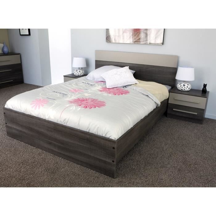 paris prix ensemble de lit chevets 160x200cm epura marron achat vente lit complet. Black Bedroom Furniture Sets. Home Design Ideas