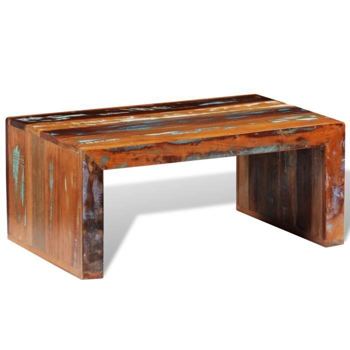 table basse multicolore en bois de recuperation vintage 80 x 50 x 35 cm