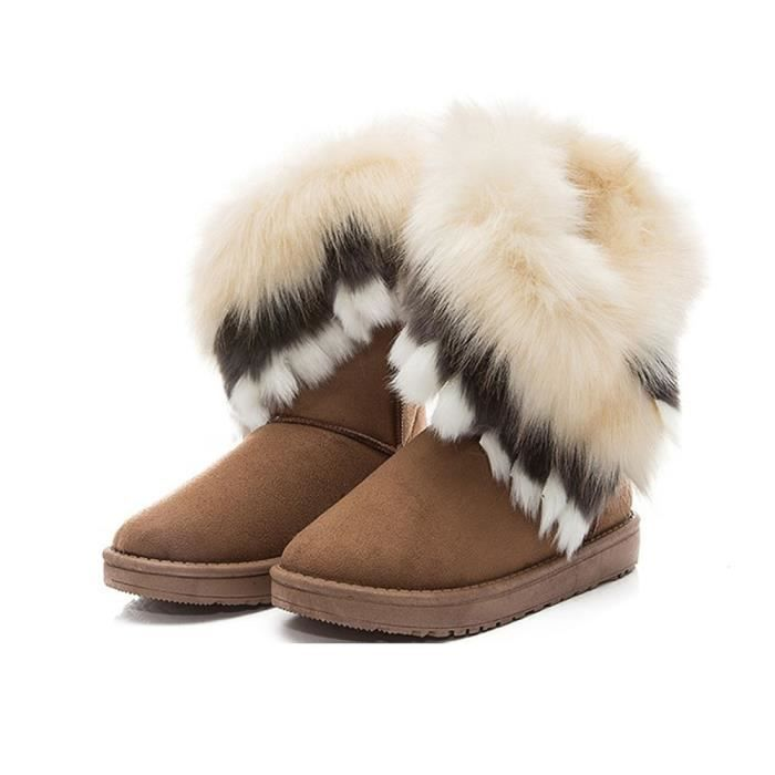 Jeffrey®Femmes plates cheville bottes de neige fourrure bottes hiver chaud chaussures de neige@Jaune