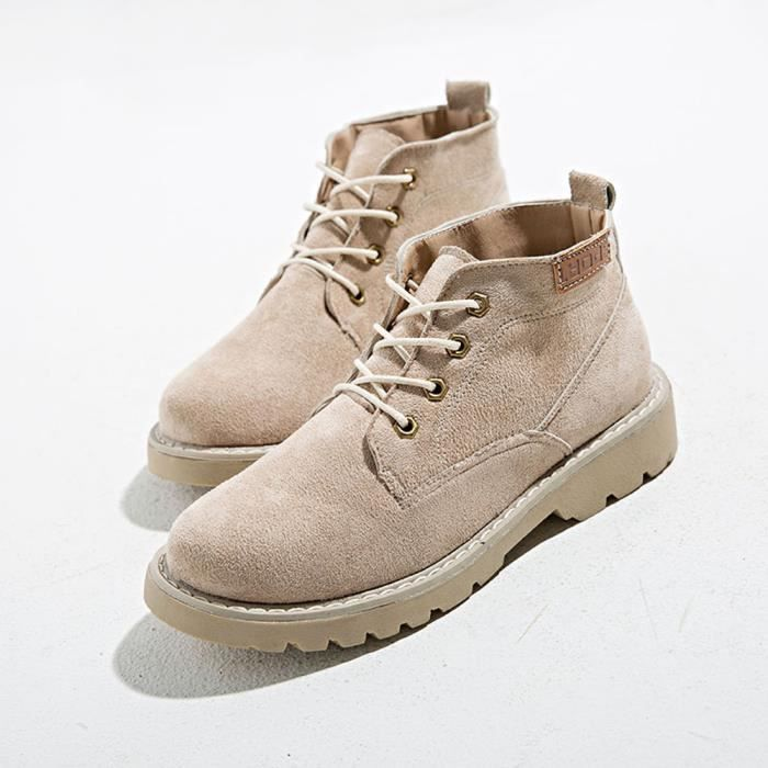 Pilerty®Women's Ladies Shoes Fashion Ankle Flat Oxford Casual Flock Shoes Short Boots LJD80716896KH38 Kaki