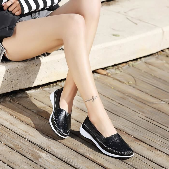 Reservece  Fashion Femmes Platform Shoes Round Toe Flat Shoes Slip Leisure Sneakers Noir