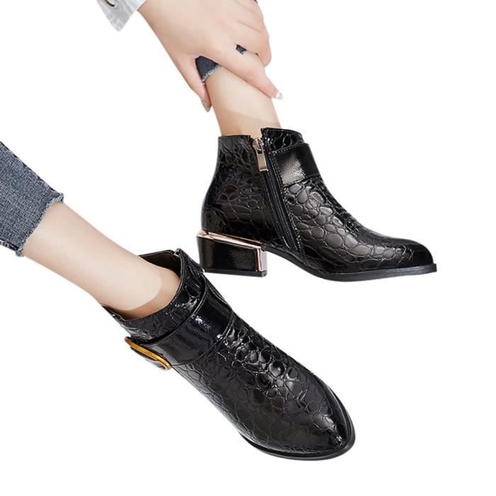 Women's Side Zipper High Heels Martin Boot Crocodile Pattern Shoes Ankle Boots  Noir