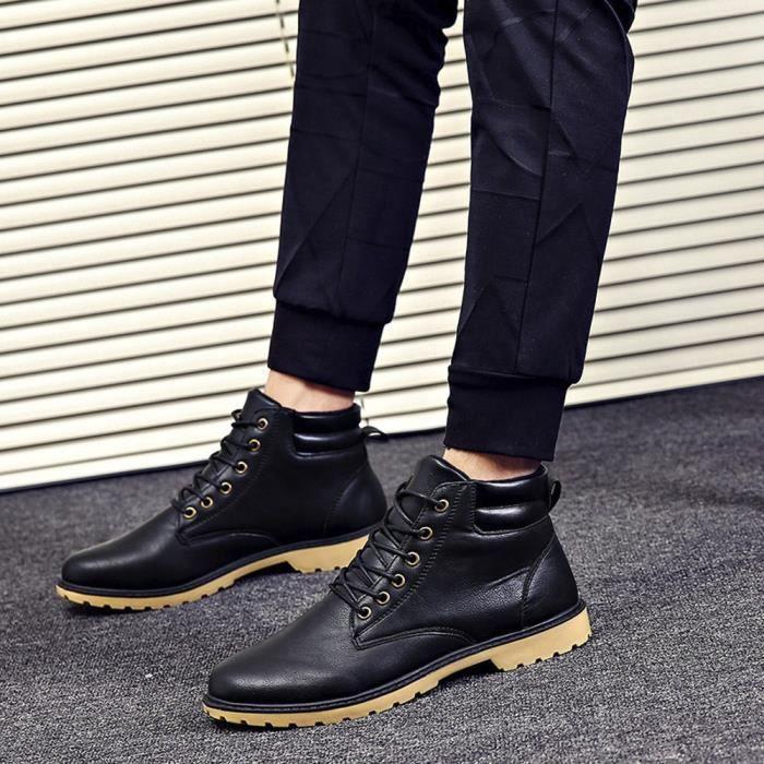 Reservece   Hommes bas cheville Garniture Bottes Bottines plates automne-hiver Casual Shoes Martin Noir