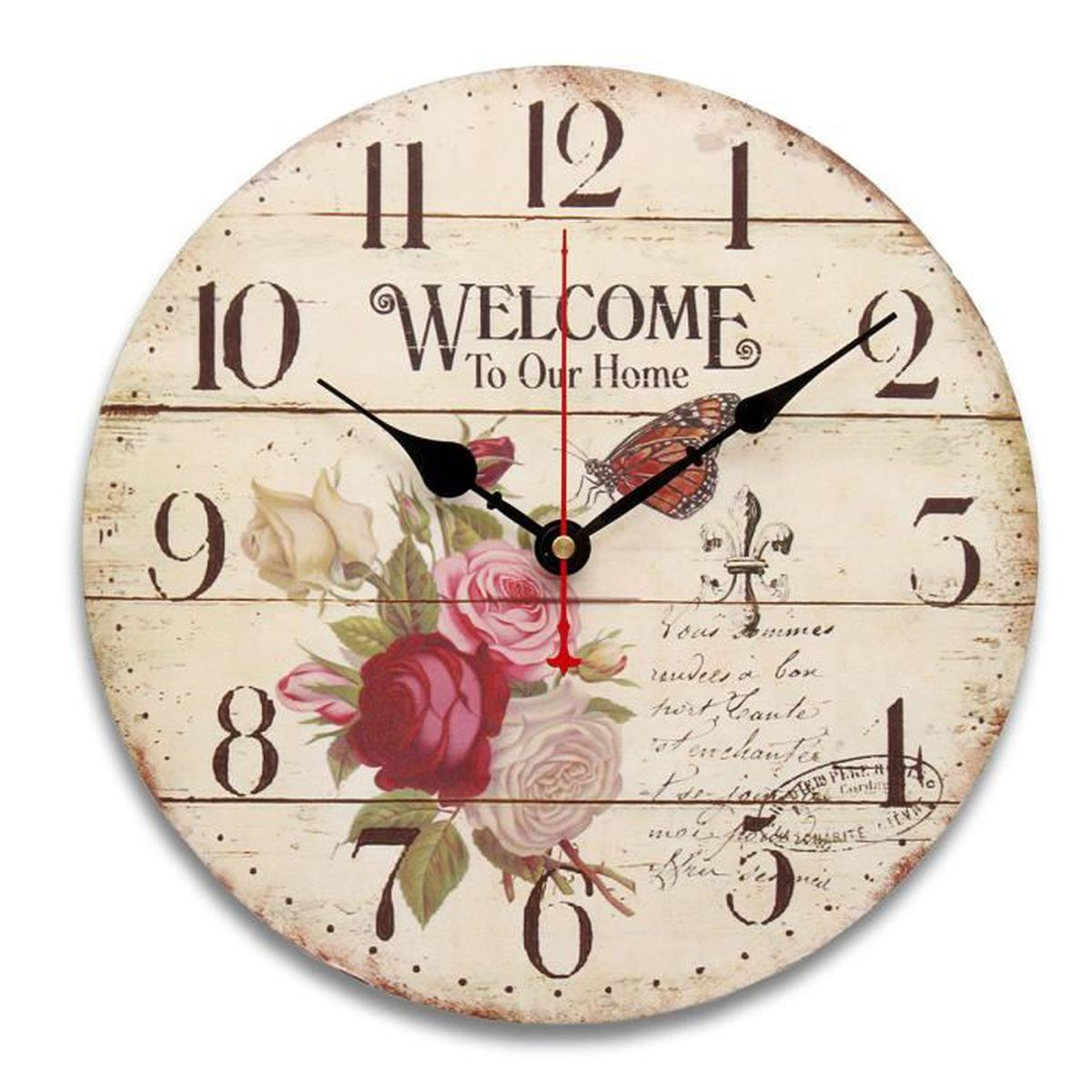 horloge murale bois grande shabby chic rustic kitchen antique fleur 30cm 34cm type d achat. Black Bedroom Furniture Sets. Home Design Ideas