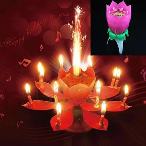 BOUGIE ANNIVERSAIRE Hot-vente de New Spin musicale Flower Party Rotati