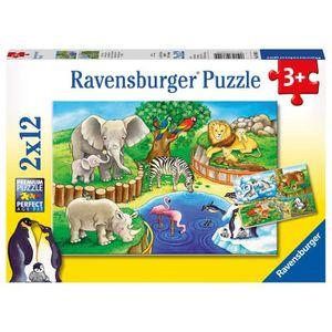 PUZZLE Ravensburger - 07602 - Puzzle Animaux Zoo 2 x 12 P