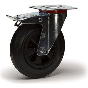 ROUE - ROULETTE Roulette caoutchouc noir pivotante à frein diamètr