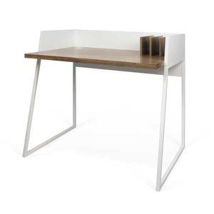 BUREAU  Bureau Noyer/Métal blanc - MOUTLO - L 90 x l 60 x