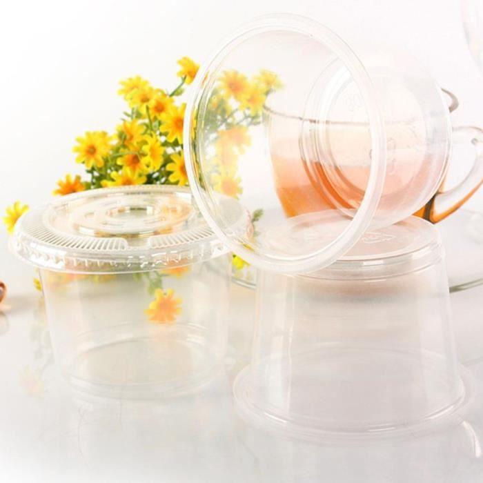 Ensemble de pots à Sauce jetables de 300ml, contenant Jello Shot Cup, stockage de Slime avec couvercle pour Ketchup, 10 [E41BDD7]