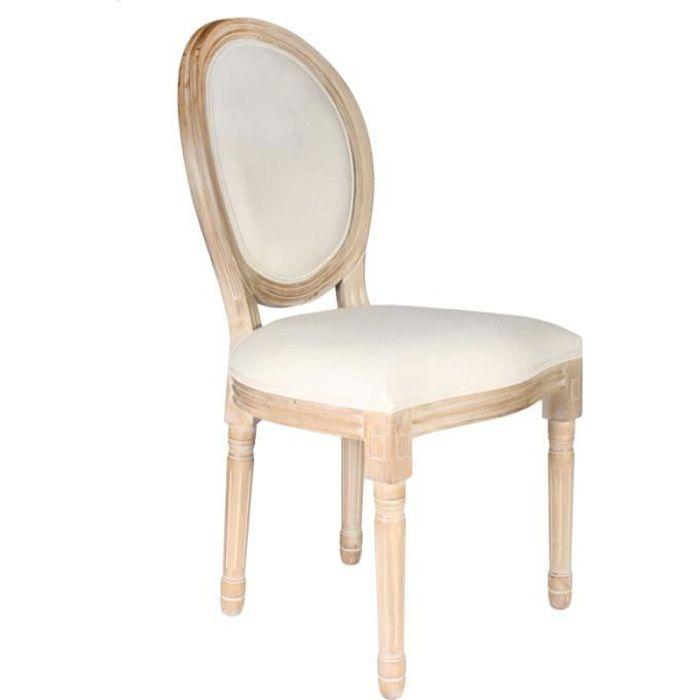 Poufs fauteuils et chaises - Chaise de table - L 48 cm x P 46 cm x H 96 cm - Eleanor - Beige