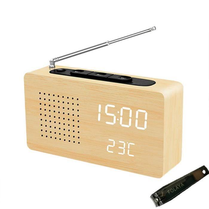 Radio Réveil, Radio Poste Vintage FM Rétro avec Temps,Température et Alarme pour Voiture Enfant