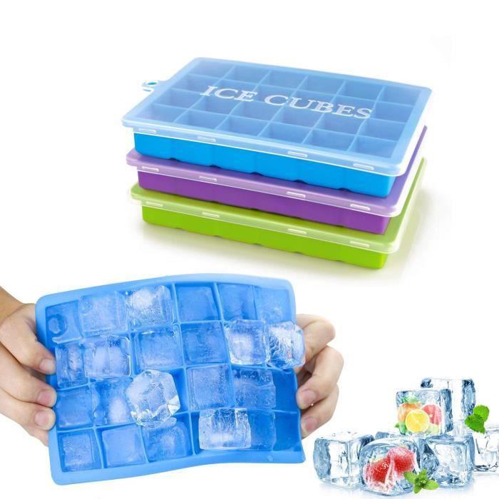 Bac à Glace en Silicone avec Couvercle, 3 pcs Bac à Glaçons Démoulage Facile, Moules à Glace de 24 Cubes - Vert + Violet + Bleu