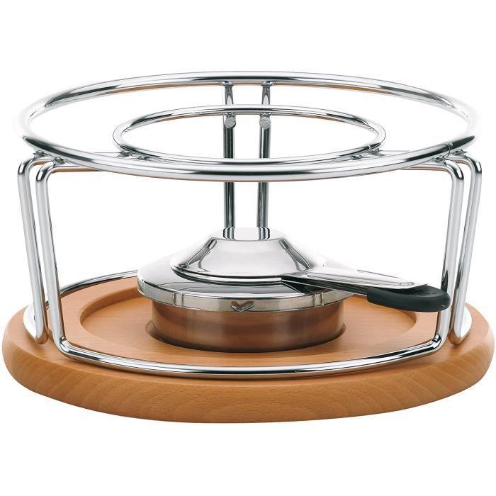 Kela 61000 réchaud pour fondues et wok, métal chromé/bois, diamètre 21 cm, hauteur 11,5 cm 'Natura'