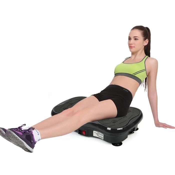 Équipement d'exercice de la plate-forme de vibrations de fitness avec USB haut-parleur Noir