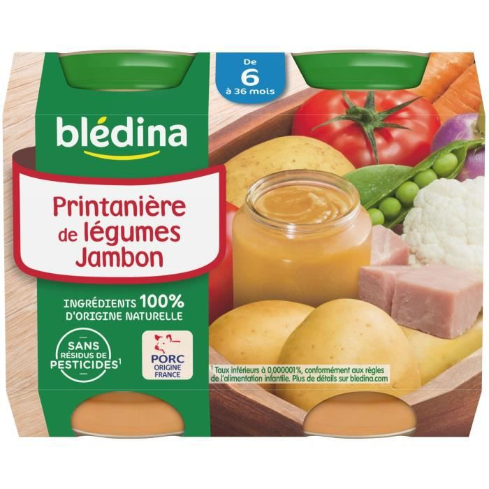 BLEDINA Petits pots Printanière de légumes jambon - 2x200 g - Dès 6 mois