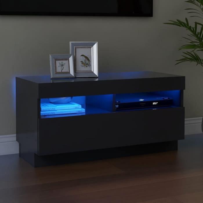 MAGIC®Meuble banc TV - Meuble TV avec lumières LED-Meuble Television moderne Gris 80x35x40 cm Meuble de salon,80 x 35 x 40 cm Haut d