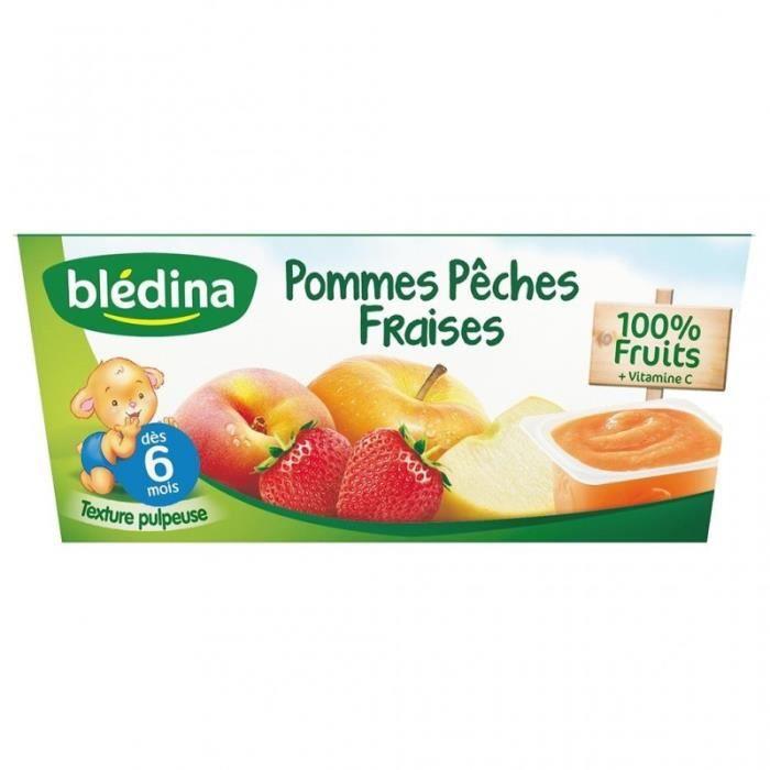 Blédina Pommes Pêches Fraises (dès 6 mois) par 4 pots de 100g (lot de 6 soit 24 pots)