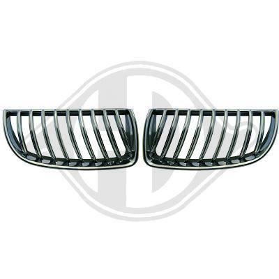 1216340 , Paire de grilles de calandre noir - chrome pour BMW Serie 3 de type E90 de 2005 a 2008.