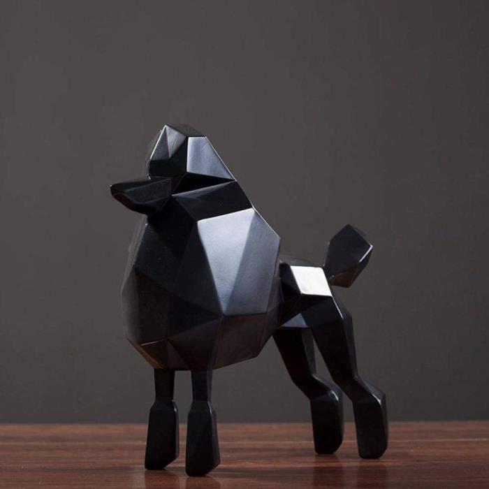 Sculpture Statuette Statue Chien Noir Caniche Origami Animaux Figurine Résine Sculpture d'art pour Les Décorations De Table De S,449
