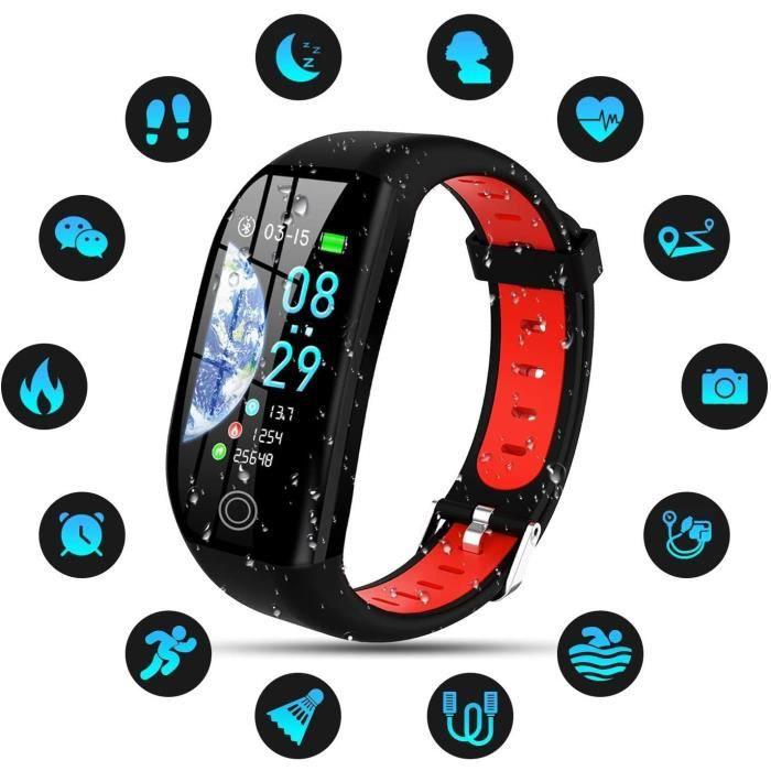 Montre Connectée Femmes Homme Enfant IP68 Etanche Bracelet Connecté Smartwatch pour iPhone Huawei Samsung Xiaomi Sony-Rouge