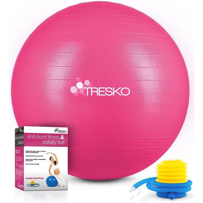 BALLON SUISSE - GYM BALL - SWISS BALL TRESKO&reg Ballon de Gymnastique - Anti-&eacuteclatement - Boule d'assise - Balle de Yog46