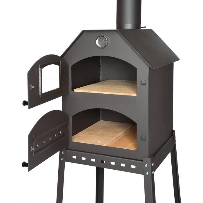 Fours à pizza extérieurs acerto 40487 Four à pizza professionnel pour le jardin - 40x53x41 cm * brique réfractaire * the 96129